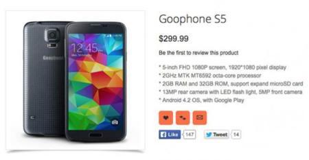 """Goophone S5, un clon en versión """"barato"""" del Galaxy S5 de Samsung por 299 dólares"""