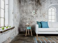 """Azul y gris en un entorno industrial con toques """"vintage"""" y mucha textura"""