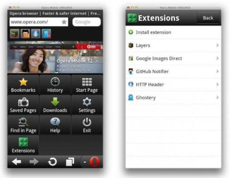 Opera Android extensiones