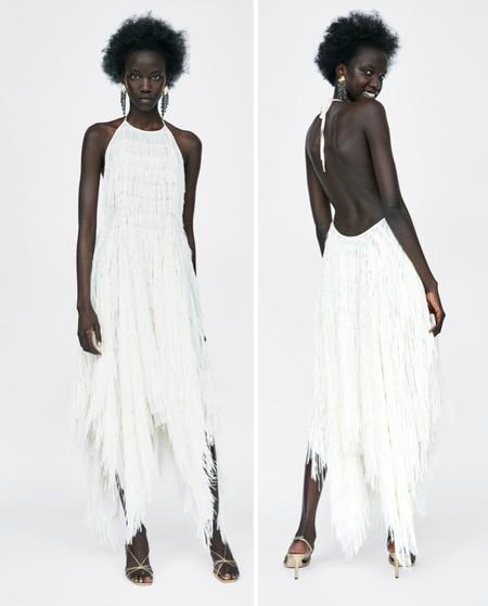 Vestido Zara Flecos Blanco