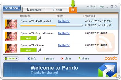 Pando 1.5, descargando archivos a través de canales RSS