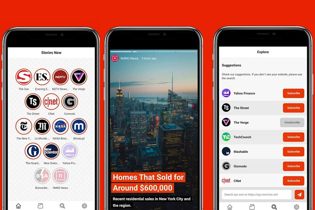 Stories Now es un sencillo lector de RSS en el que todo se muestra como historias de Instagram