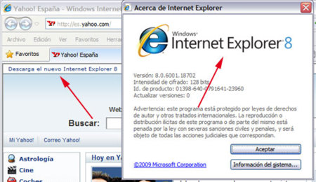 Yahoo te recomienda Internet Explorer (aunque ya lo tengas)
