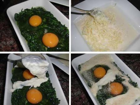 Preparación de espinacas y huevos al horno