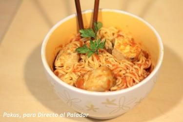 Noodles con bonito del norte. Receta