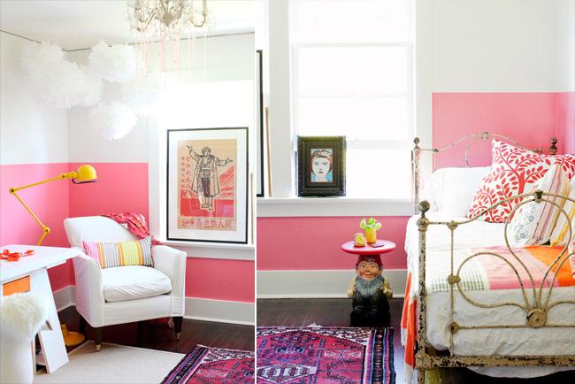 Pared pintada a media altura en rosa chicle