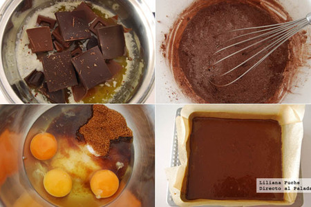 Brownie dos chocolates con cerveza negra. Pasos