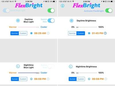 Tras retirar f.lux, Apple aprueba otra aplicación llamada FlexBright para regular el color de la interfaz en iOS