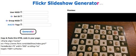flickr slideshow generator