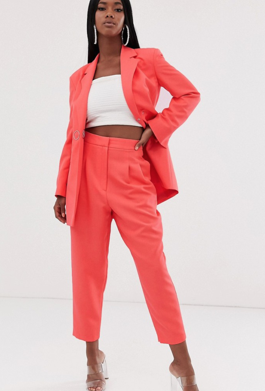 Traje en color coral de ASOS DESIGN