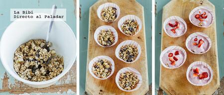 Cupcakes de granola y yogurt helado. Receta fácil