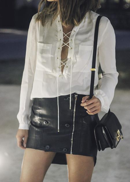 Como Combinar Falda Cuero Negra 05