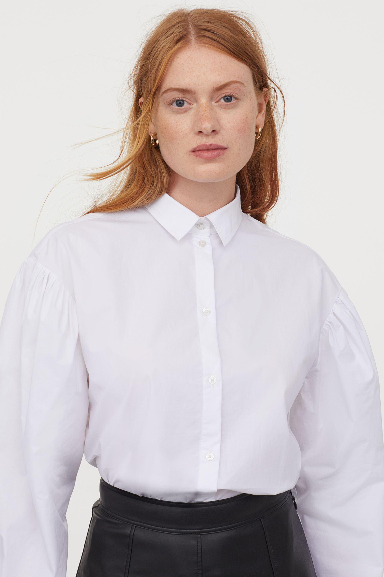 Camisa de algodón manga puffy