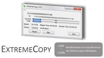 ExtremeCopy, copiar y mover archivos en Windows hasta un 120% más rápido