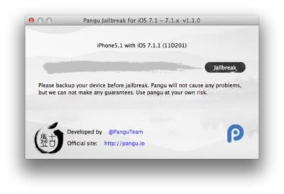 El jailbreak Pangu sigue siendo compatible con iOS 7.1.2