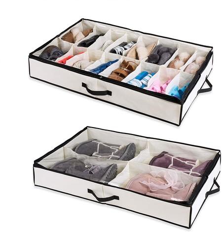 Woffit Organizador De Zapatos Para 24 Pares Set De Dos 2x12 Almacenadores Para Poner Debajo De La Cama Para Cualquier Talla De Zapato