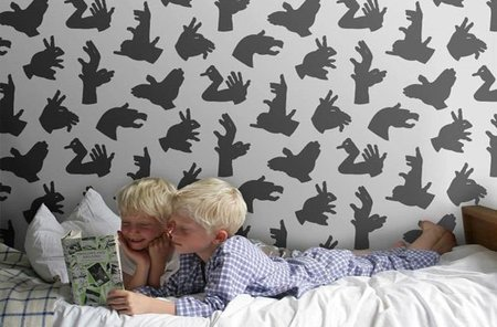 Papel pintado con sombras chinescas para la habitación infantil