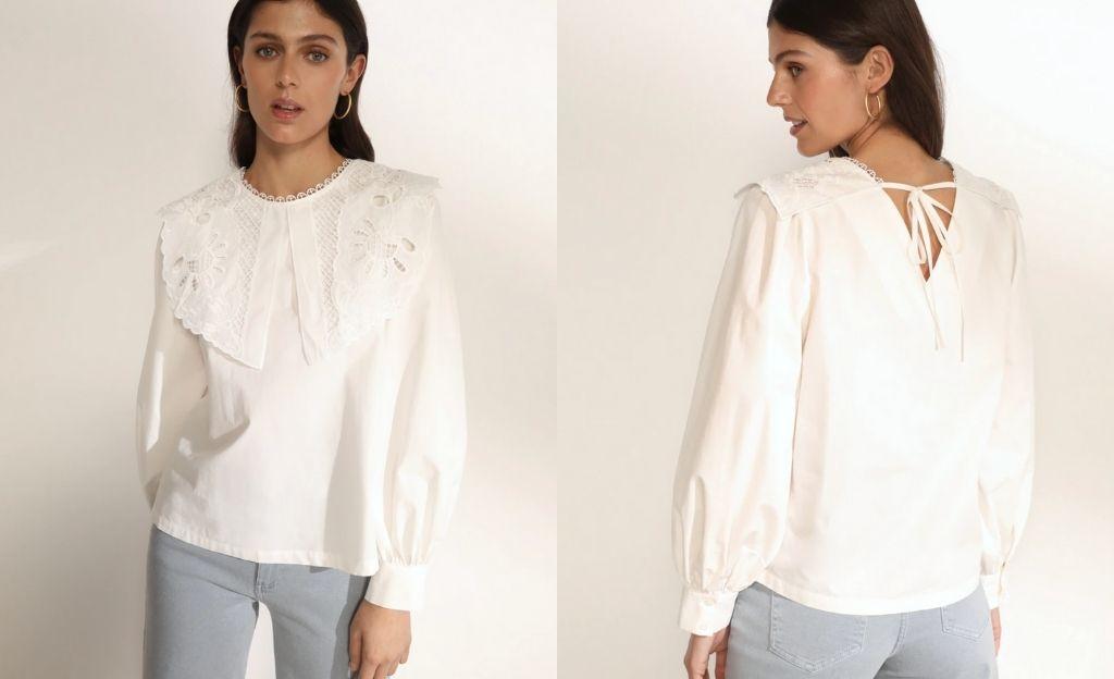 Blusa romántica de mujer manga larga