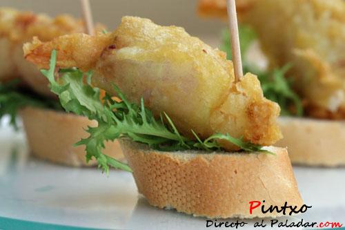 Pincho de langostinos calabac n y bac n en tempura receta - Brocheta de langostinos y bacon ...