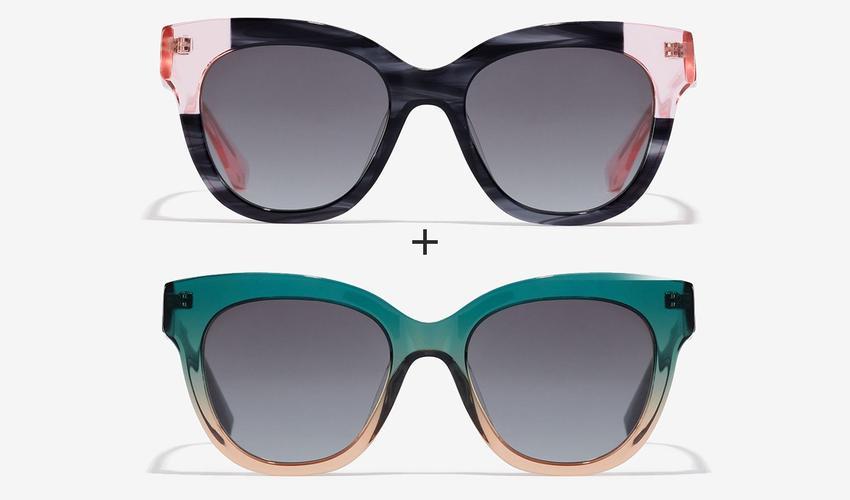 Set de dos gafas de sol Audrey en verde y rosa