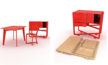 Una oficina roja en kit
