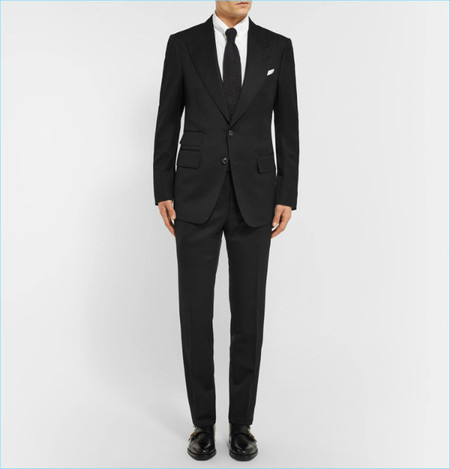 Tom Ford Icon Black Shelton Slim Fit Grain De Poudre Wool Blend Suit