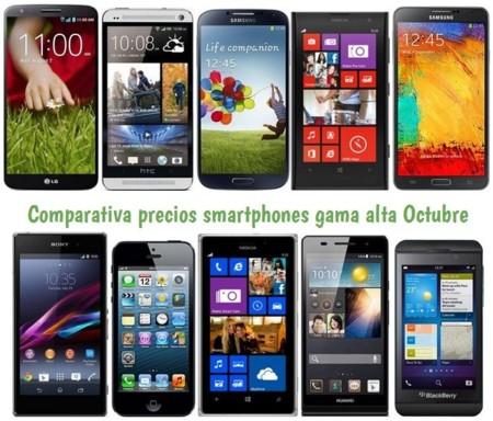 Comparativa Precios LG G2, Lumia 1020, Galaxy Note 3, Galaxy S4, HTC One, Xperia Z1, iPhone 5 y otros gama alta en Octubre de 2013