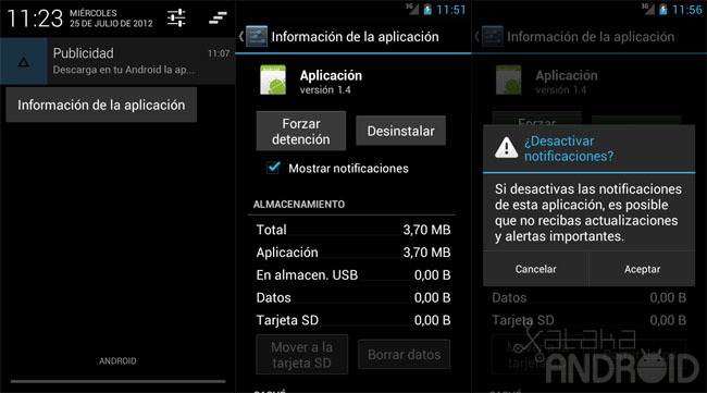 Desactivar notificaciones Android