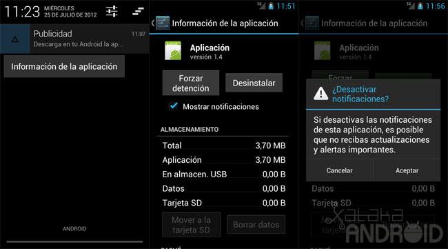 Desactivar notificaciones Android