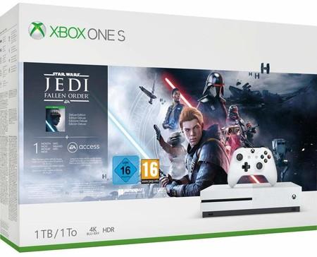 Consola Xbox One S de 1TB, con Star Wars: Jedi Fallen Order, rebajada hoy en eBay con el cupón PDESCUENTO5: por 217,55 euros