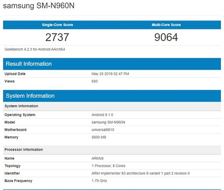 N960n Note 9 Geekbench