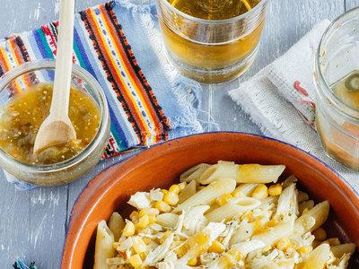 Pastas con pollo a la mexicana. Receta