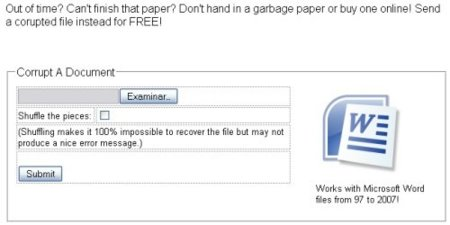 Corrompe documentos a propósito con Document Corrupter