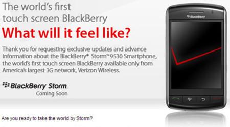 Especificaciones oficiales de la BlackBerry Storm 9530