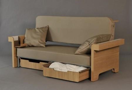Sofá, mesa, cama y mueble de almacenaje, cuatro en uno