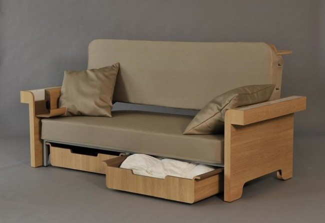 Sof mesa cama y mueble de almacenaje cuatro en uno for Sofa cama con almacenaje