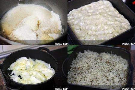 Focaccia de cebolla y queso emmental. Pasos