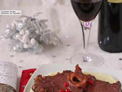 Ossobuco en salsa de frutos rojos al Oporto. Receta de Navidad