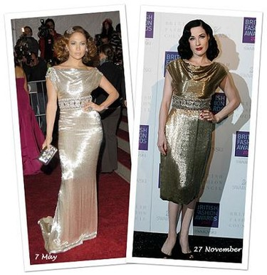 Vestido de Marchesa: ¿Dita von Teese o Jennifer Lopez?