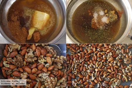 Frutos secos especiados al horno. Pasos