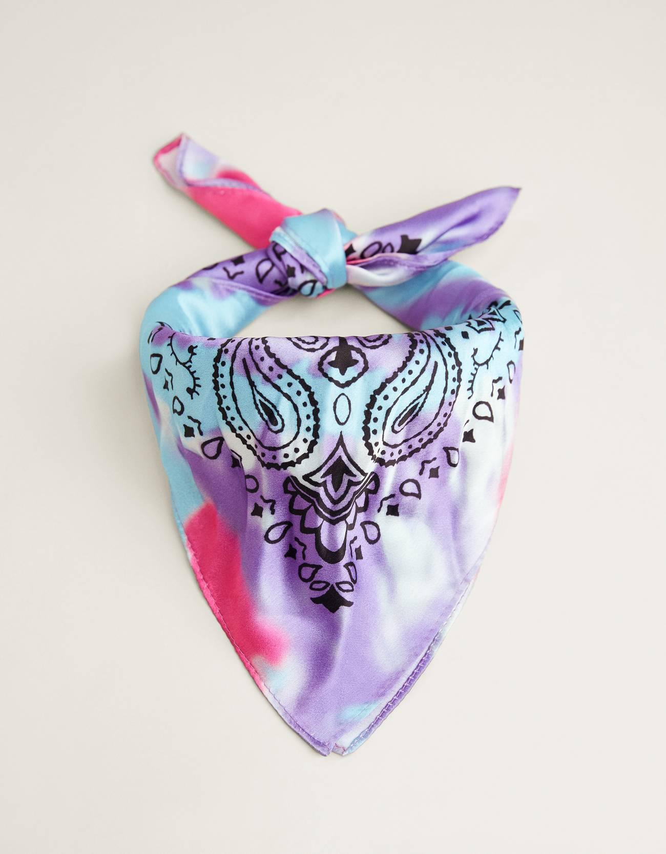 Pañuelo satinado con estampado tie-dye