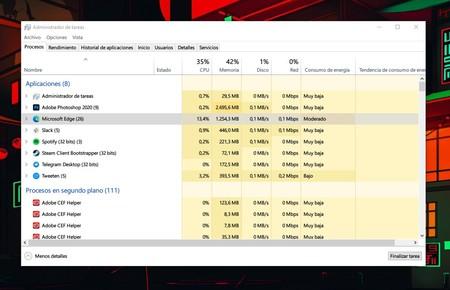 Microsoft Edge Memoria