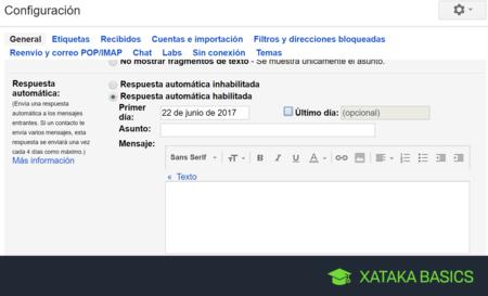 Cómo configurar las respuestas automáticas en Gmail