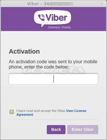Configuración inicial de Viber para Linux, paso 3