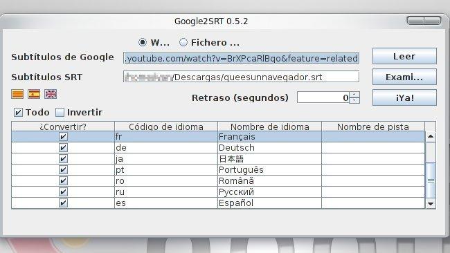Google2SRT, un programa en Java que nos puede bajar todos los subtítulos disponibles en un vídeo de YouTube en formato SRT