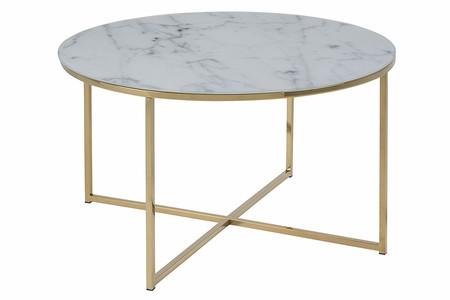 AC Design Furniture 0000057547 Mesita Actona Alisma, Marco De Oro, B: 80 x T:80 x H: 45 cm