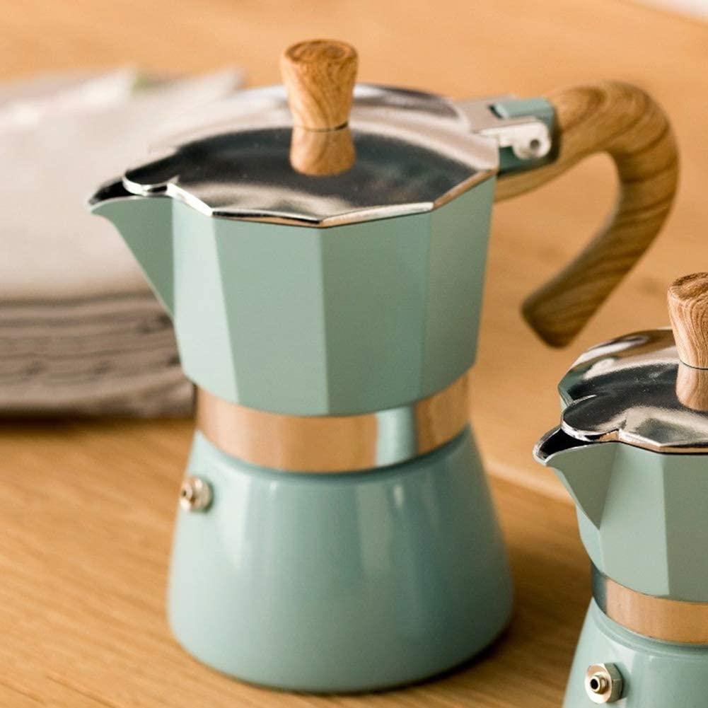 Rsoamy Máquina de café, cafetera Italiana de Filtro Moka Espresso de Aluminio (6 Tazas, 300 ml)