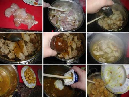 Preparación del pollo a la indiana