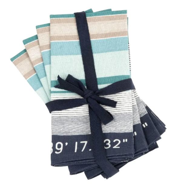 Servilletas de algodón con motivo de rayas azules y verdes