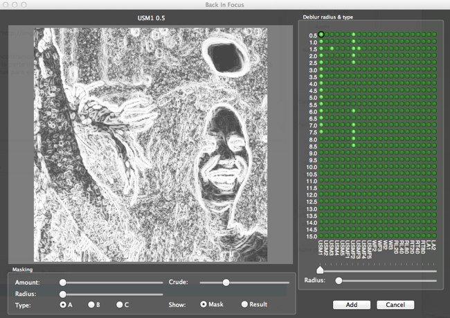 Máscara de enfoque y los píxeles a los que vamos a afectar